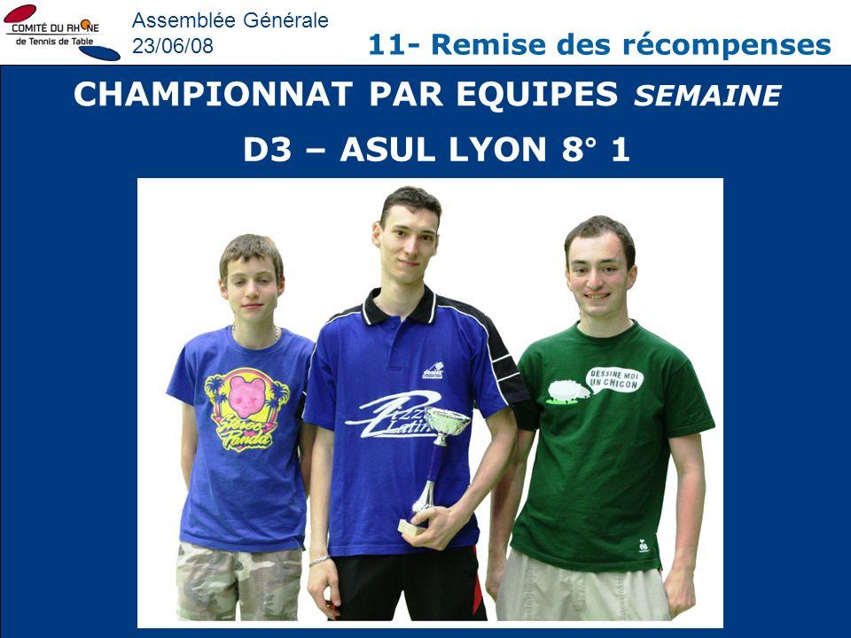 Assemblée Générale 23/06/08 11- Remise des récompenses CHAMPIONNAT PAR EQUIPES SEMAINE D3 – ASUL LYON 8° 1