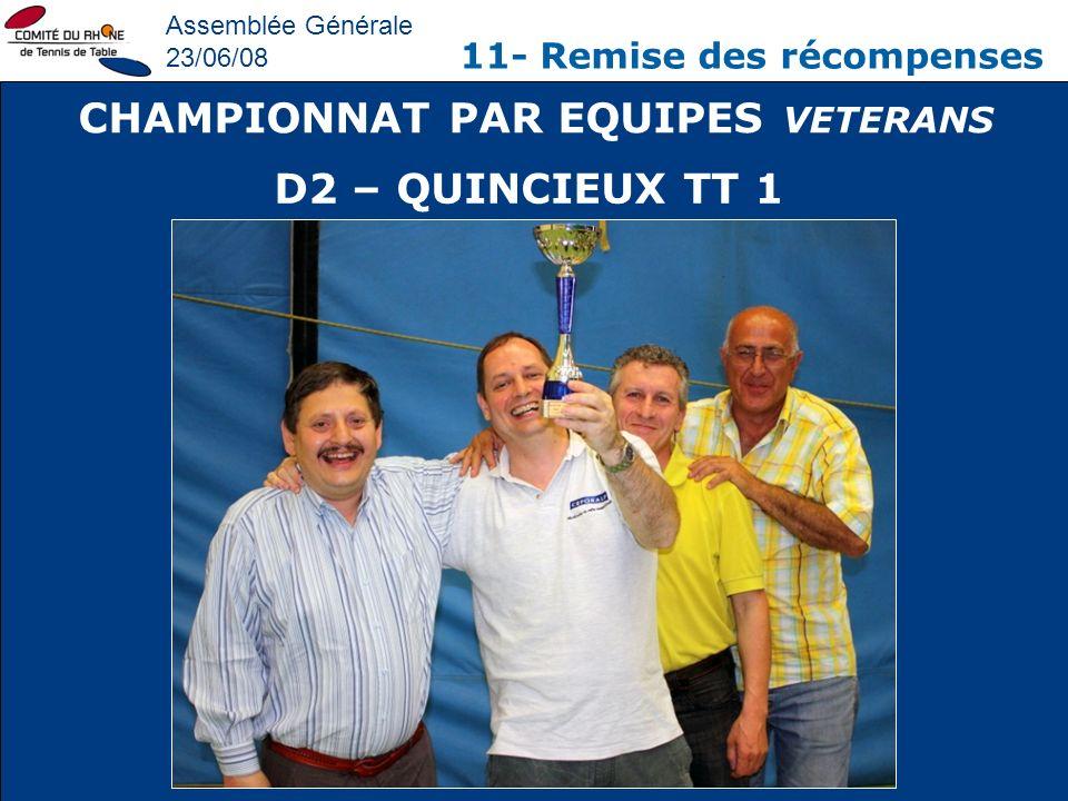 Assemblée Générale 23/06/08 11- Remise des récompenses CHAMPIONNAT PAR EQUIPES VETERANS D2 – QUINCIEUX TT 1