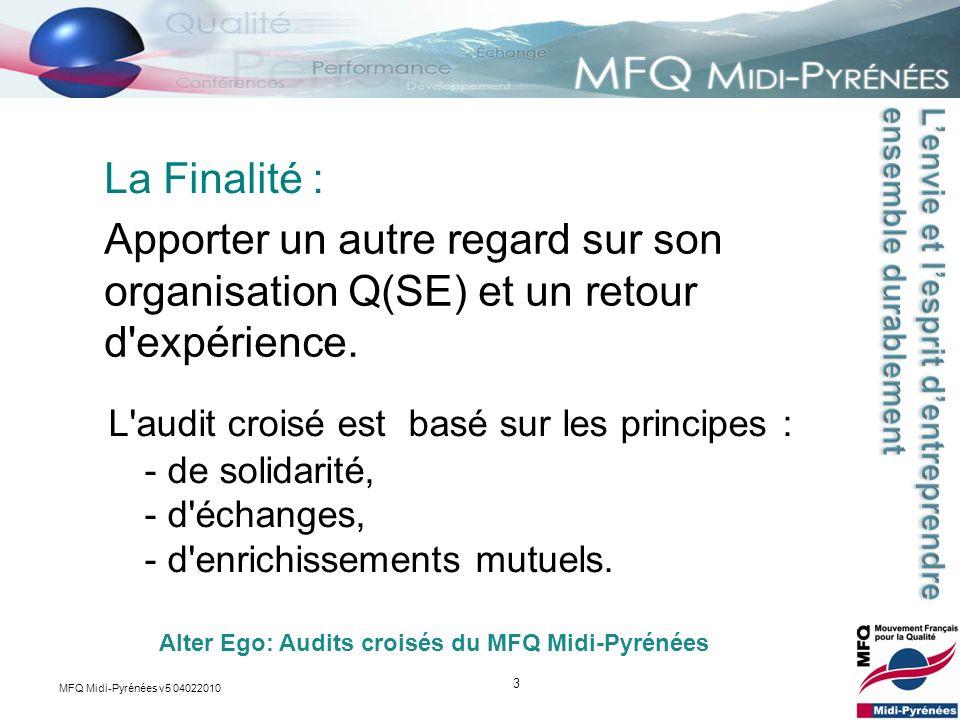 3 Apporter un autre regard sur son organisation Q(SE) et un retour d'expérience. La Finalité : Alter Ego: Audits croisés du MFQ Midi-Pyrénées L'audit