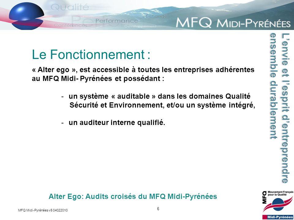 6 « Alter ego », est accessible à toutes les entreprises adhérentes au MFQ Midi- Pyrénées et possédant : -un système « auditable » dans les domaines Q