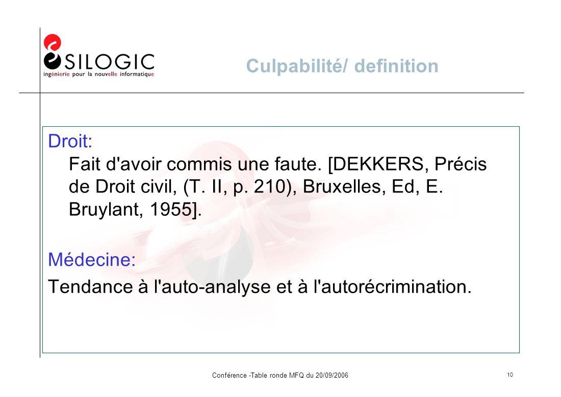 Conférence -Table ronde MFQ du 20/09/2006 10 Culpabilité/ definition Droit: Fait d'avoir commis une faute. [DEKKERS, Précis de Droit civil, (T. II, p.