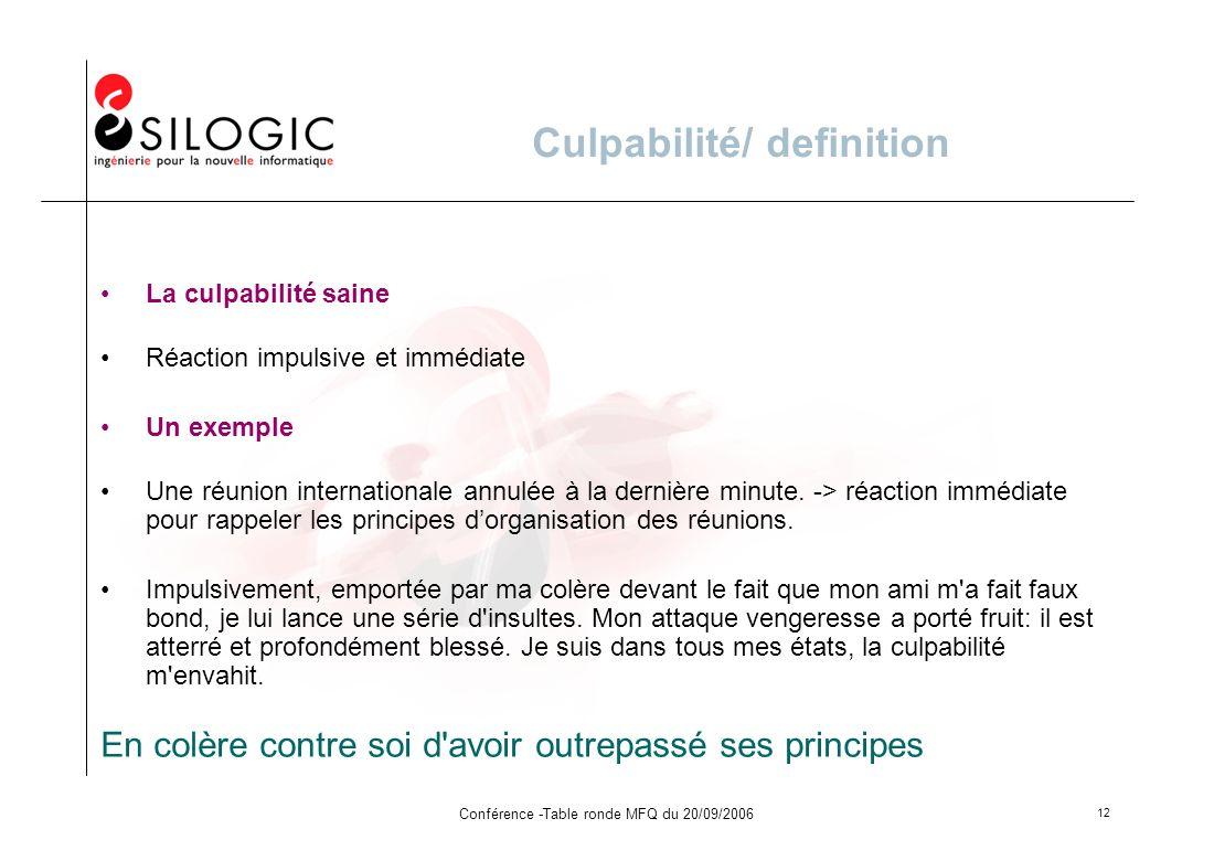 Conférence -Table ronde MFQ du 20/09/2006 12 Culpabilité/ definition La culpabilité saine Réaction impulsive et immédiate Un exemple Une réunion inter