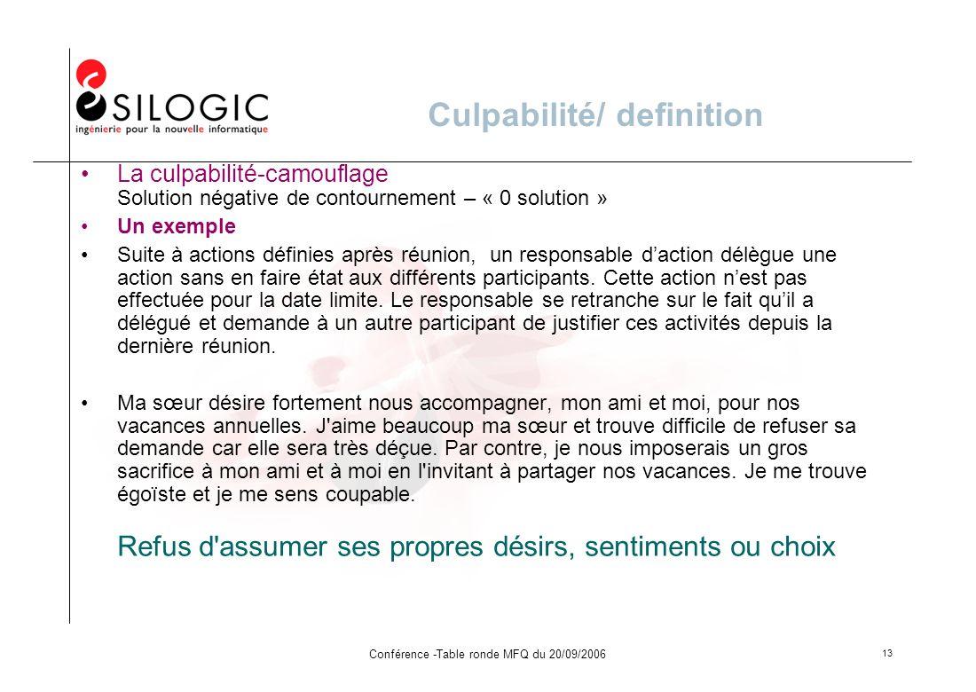 Conférence -Table ronde MFQ du 20/09/2006 13 Culpabilité/ definition La culpabilité-camouflage Solution négative de contournement – « 0 solution » Un
