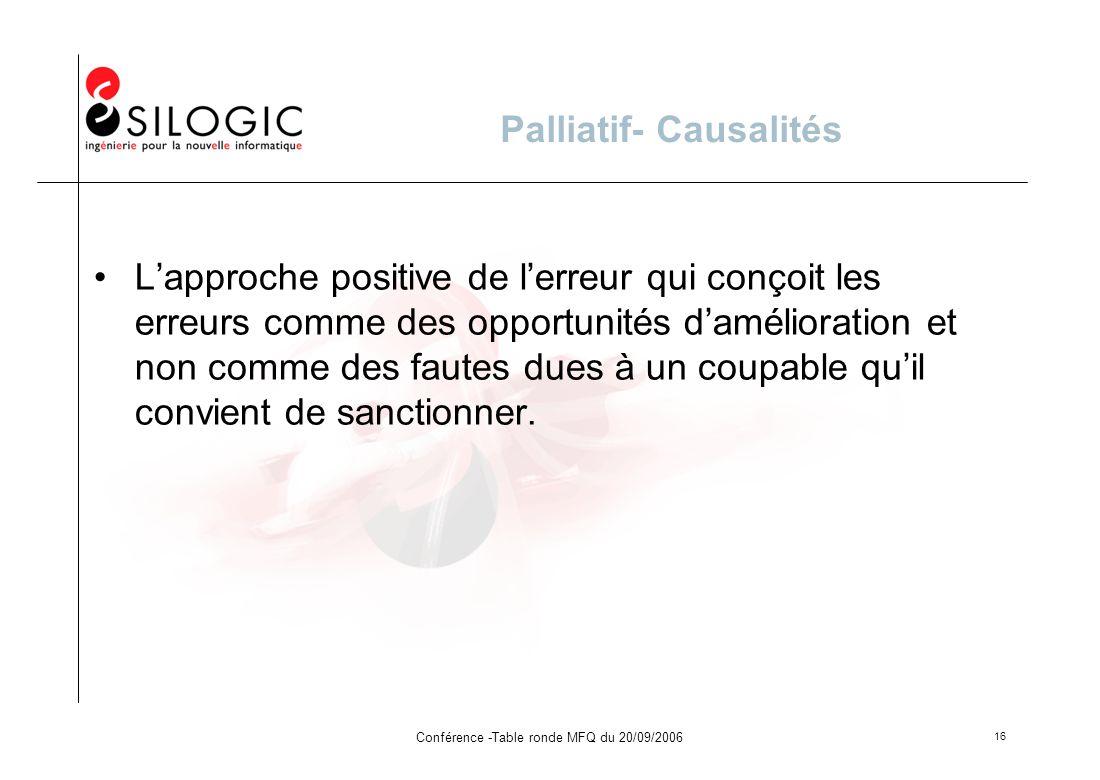 Conférence -Table ronde MFQ du 20/09/2006 16 Palliatif- Causalités Lapproche positive de lerreur qui conçoit les erreurs comme des opportunités daméli