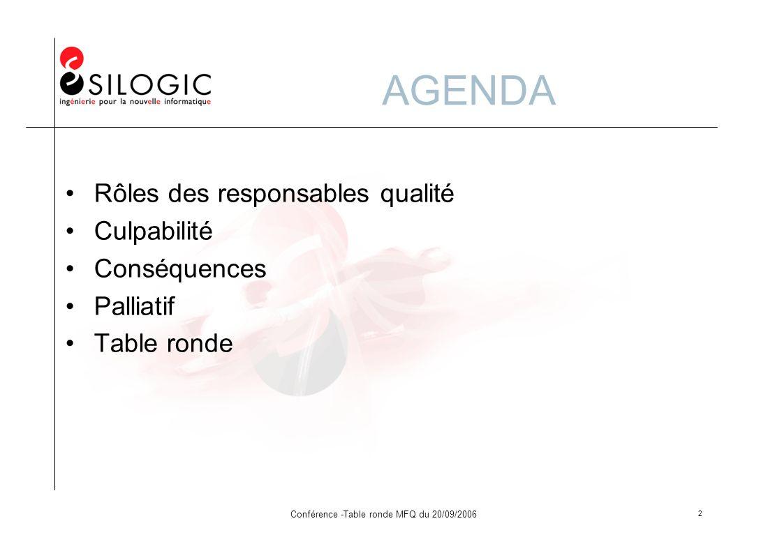 Conférence -Table ronde MFQ du 20/09/2006 2 AGENDA Rôles des responsables qualité Culpabilité Conséquences Palliatif Table ronde