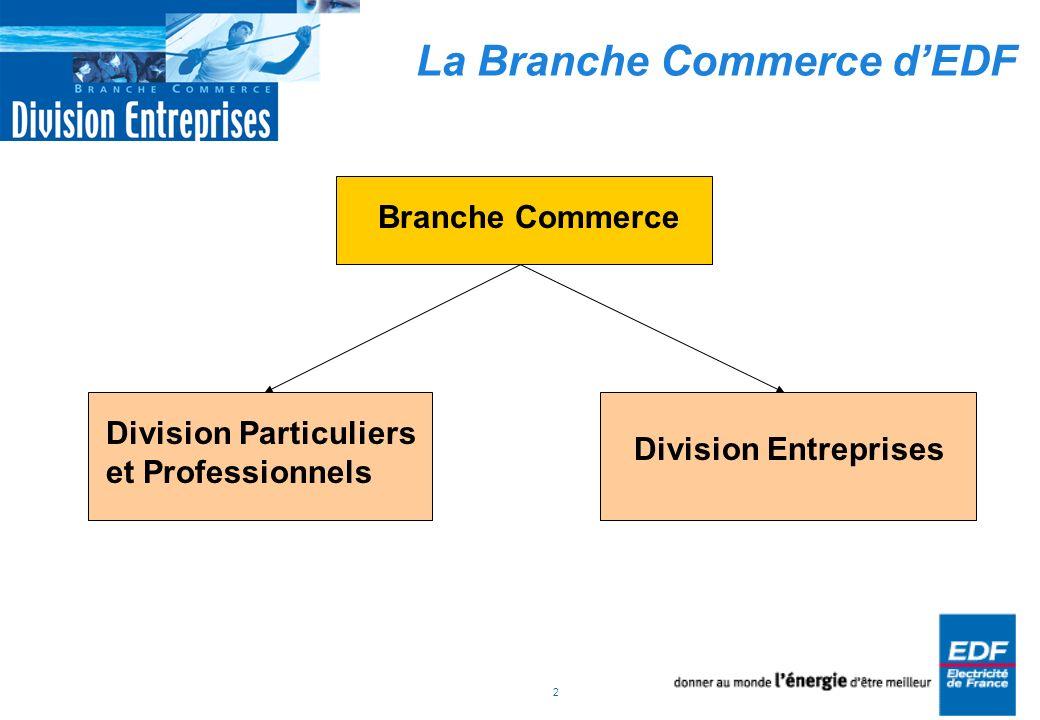 2 La Branche Commerce dEDF Branche Commerce Division Entreprises Division Particuliers et Professionnels