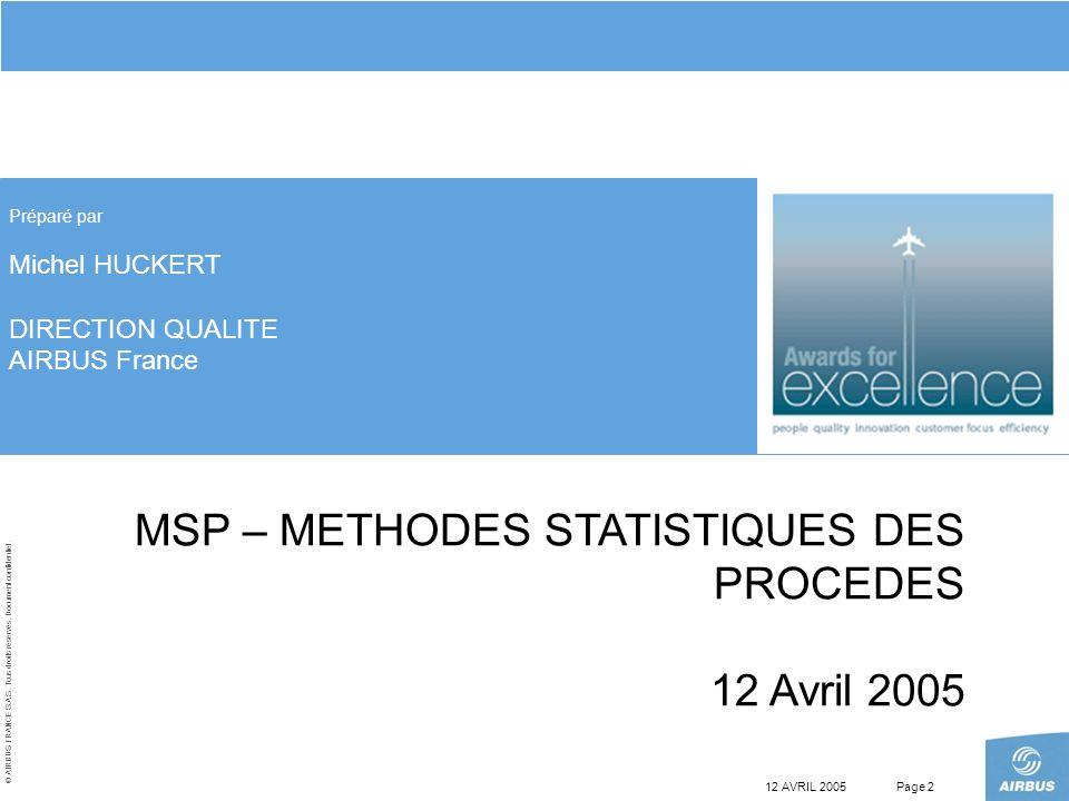 © AIRBUS FRANCE S.A.S. Tous droits réservés. Document confidentiel. 12 AVRIL 2005Page 2 MSP – METHODES STATISTIQUES DES PROCEDES 12 Avril 2005 Préparé