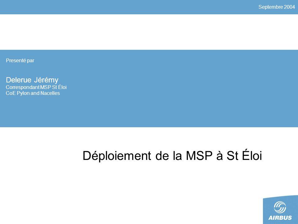 Septembre 2004 Déploiement de la MSP à St Éloi Presenté par Delerue Jérémy Correspondant MSP St Éloi CoE Pylon and Nacelles