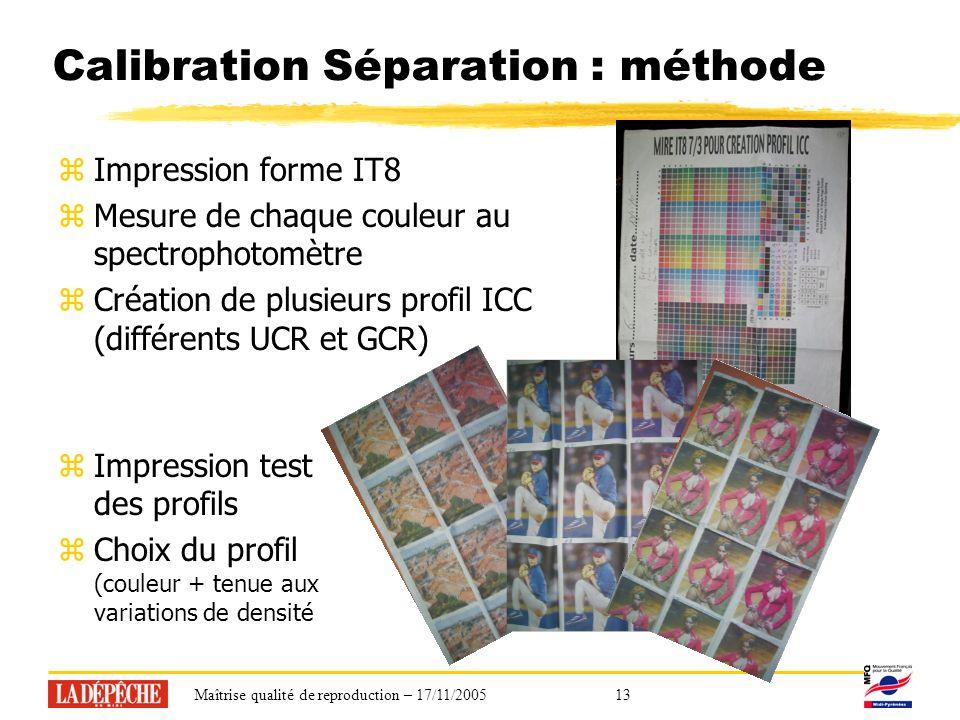 Maîtrise qualité de reproduction – 17/11/200513 Calibration Séparation : méthode zImpression forme IT8 zMesure de chaque couleur au spectrophotomètre zCréation de plusieurs profil ICC (différents UCR et GCR) zImpression test des profils zChoix du profil (couleur + tenue aux variations de densité