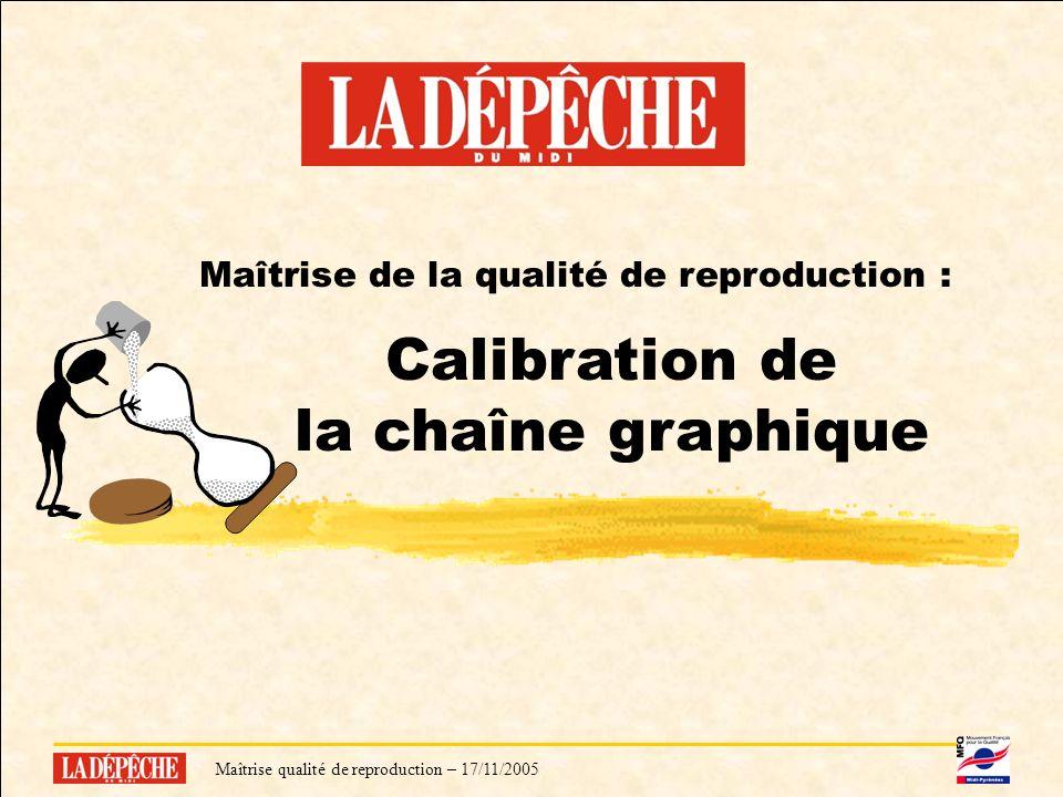 Maîtrise qualité de reproduction – 17/11/20056 Maîtrise de la qualité de reproduction : Calibration de la chaîne graphique Maîtrise qualité de reproduction – 17/11/2005