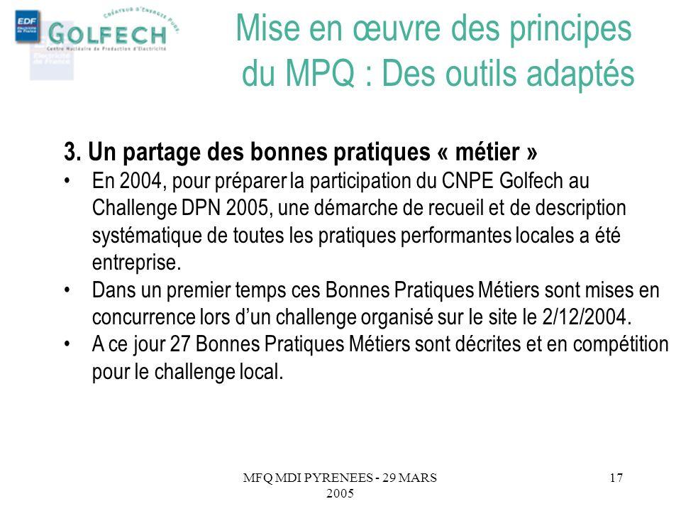 MFQ MDI PYRENEES - 29 MARS 2005 16 2. Des plans de progrès déquipe (PPE) La démarche a été lancée en 2003, suite à une action de formation - sensibili