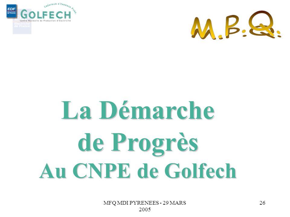 MFQ MDI PYRENEES - 29 MARS 2005 25 Objectifs => Intégrer les principes du MPQ au progrès permanent initié dans les équipes. => Renforcer la culture qu
