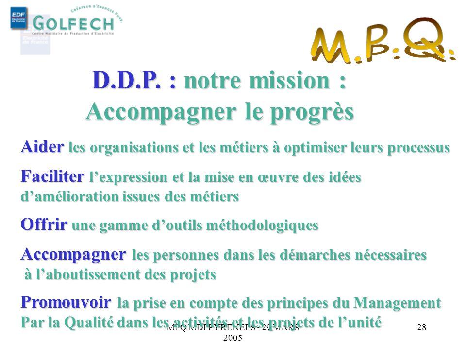 MFQ MDI PYRENEES - 29 MARS 2005 27 Démarche De Progrès Inter comparaison Système de suggestion innovation Engagements de Bercy Partage des bonnes prat