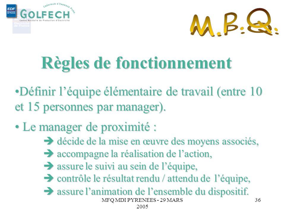 MFQ MDI PYRENEES - 29 MARS 2005 35 Favoriser la prise en compte des suggestions au sein même de léquipe (Engagement de Bercy n° 17). Favoriser la pris