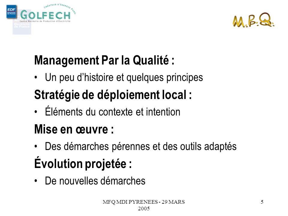 MFQ MDI PYRENEES - 29 MARS 2005 4 2. Système de suggestion innovation 3. Plan de progrès déquipe 4. Partage des Bonnes pratiques 1. Management par la