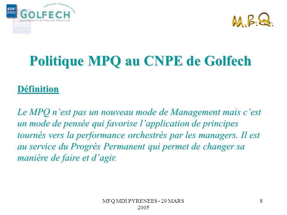 MFQ MDI PYRENEES - 29 MARS 2005 7 MPQ : Les principes de lexcellence (modèle EFQM) Quatre principes directeurs : l'orientation résultats, les processu