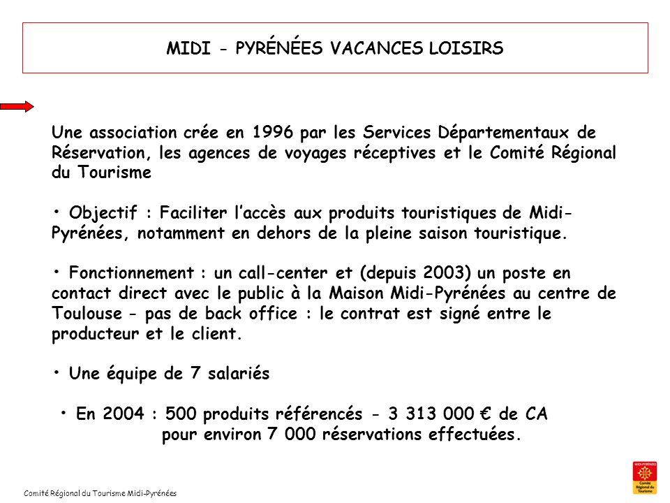 MIDI - PYRÉNÉES VACANCES LOISIRS Une association crée en 1996 par les Services Départementaux de Réservation, les agences de voyages réceptives et le