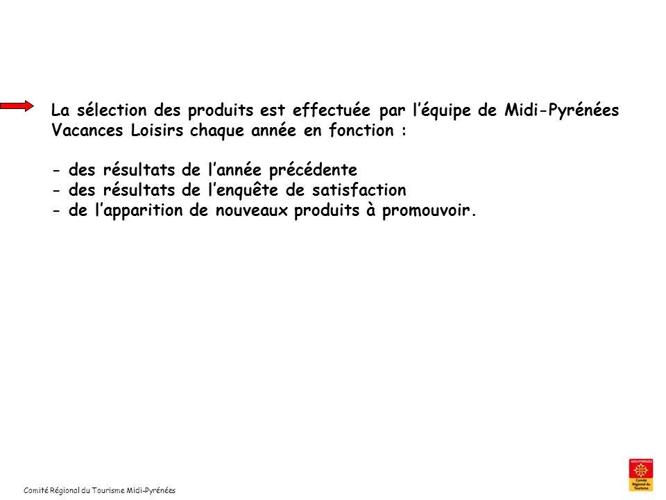 Comité Régional du Tourisme Midi-Pyrénées La sélection des produits est effectuée par léquipe de Midi-Pyrénées Vacances Loisirs chaque année en foncti