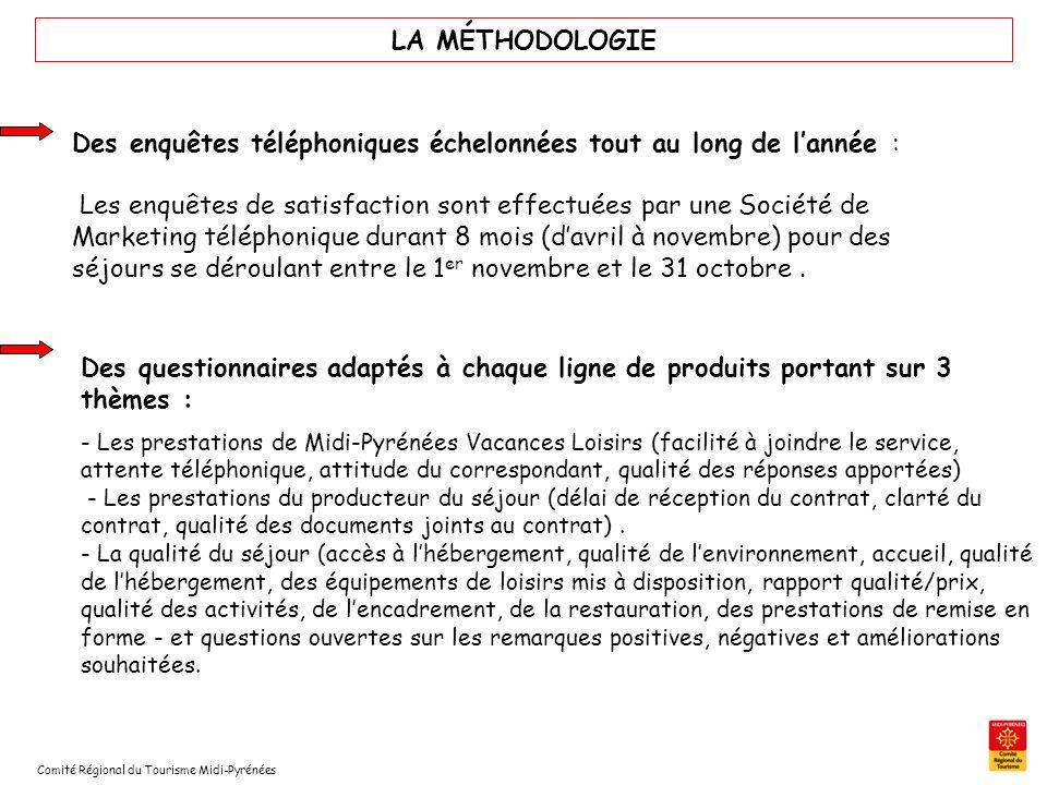 Comité Régional du Tourisme Midi-Pyrénées LA MÉTHODOLOGIE Des enquêtes téléphoniques échelonnées tout au long de lannée : Les enquêtes de satisfaction