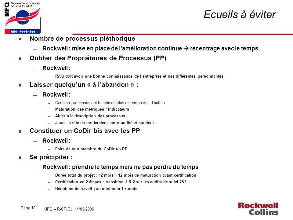 MFQ – R-CF/GJ 14/03/2006 Page 10 Ecueils à éviter n Nombre de processus pléthorique Rockwell : mise en place de lamélioration continue recentrage avec
