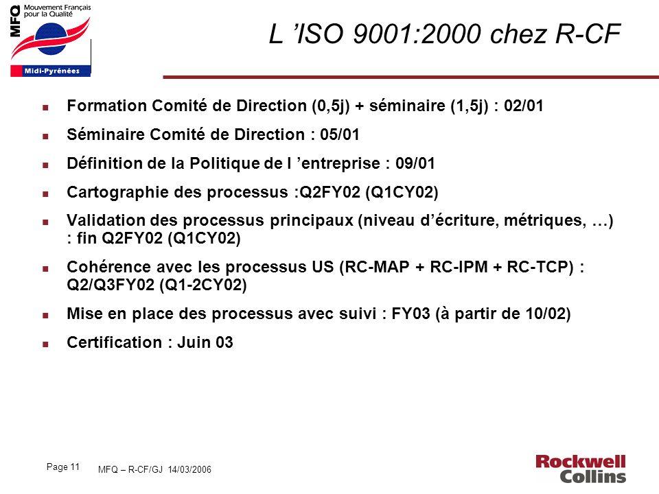 MFQ – R-CF/GJ 14/03/2006 Page 11 L ISO 9001:2000 chez R-CF n Formation Comité de Direction (0,5j) + séminaire (1,5j) : 02/01 n Séminaire Comité de Dir