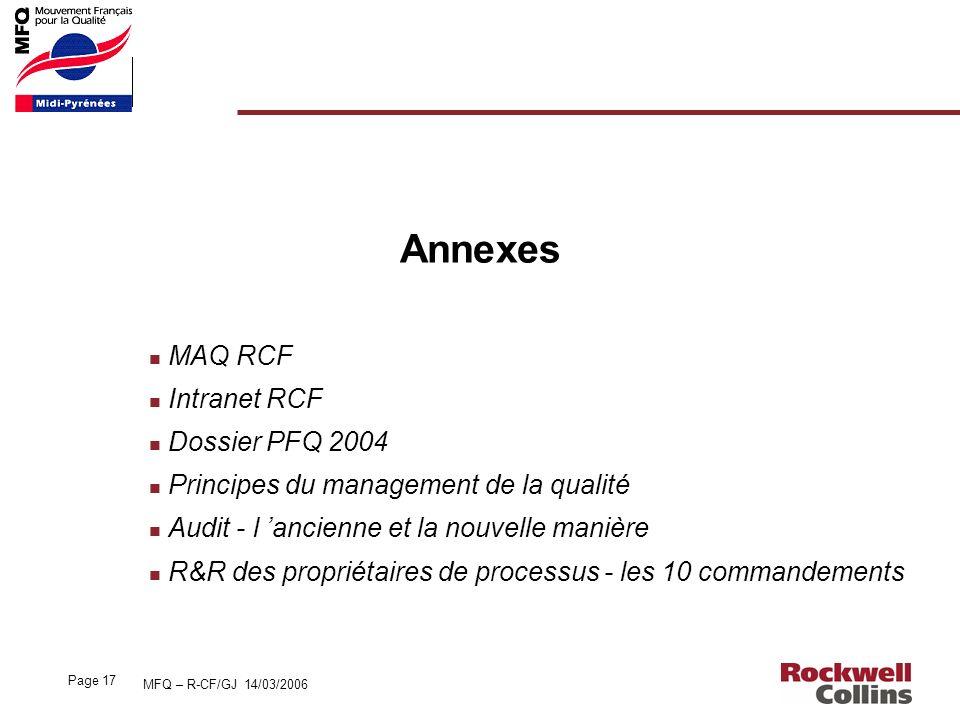 MFQ – R-CF/GJ 14/03/2006 Page 17 Annexes n MAQ RCF n Intranet RCF n Dossier PFQ 2004 n Principes du management de la qualité n Audit - l ancienne et l