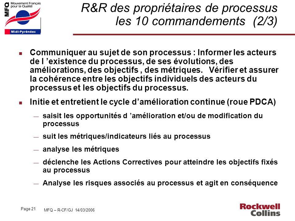 MFQ – R-CF/GJ 14/03/2006 Page 21 R&R des propriétaires de processus les 10 commandements (2/3) n Communiquer au sujet de son processus : Informer les