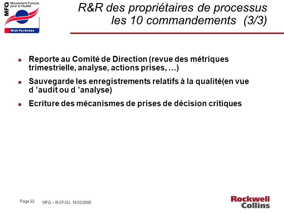 MFQ – R-CF/GJ 14/03/2006 Page 22 R&R des propriétaires de processus les 10 commandements (3/3) n Reporte au Comité de Direction (revue des métriques t