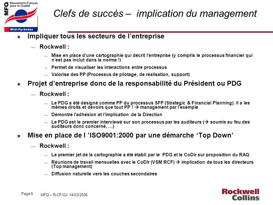 MFQ – R-CF/GJ 14/03/2006 Page 6 Clefs de succès – implication du management n Impliquer tous les secteurs de lentreprise Rockwell : Mise en place dune