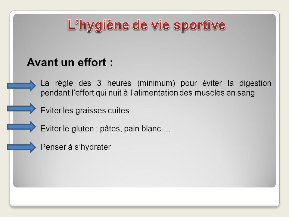 Avant un effort : La règle des 3 heures (minimum) pour éviter la digestion pendant leffort qui nuit à lalimentation des muscles en sang Eviter les gra