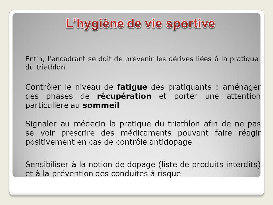 Enfin, lencadrant se doit de prévenir les dérives liées à la pratique du triathlon Contrôler le niveau de fatigue des pratiquants : aménager des phase