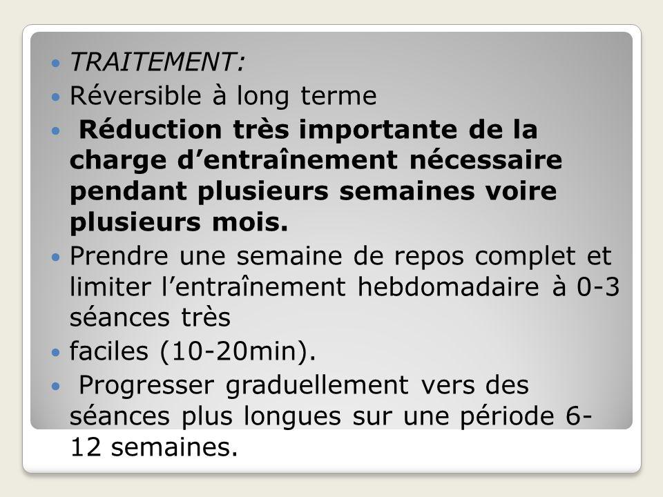 TRAITEMENT: Réversible à long terme Réduction très importante de la charge dentraînement nécessaire pendant plusieurs semaines voire plusieurs mois. P