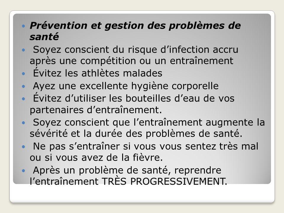 Prévention et gestion des problèmes de santé Soyez conscient du risque dinfection accru après une compétition ou un entraînement Évitez les athlètes m