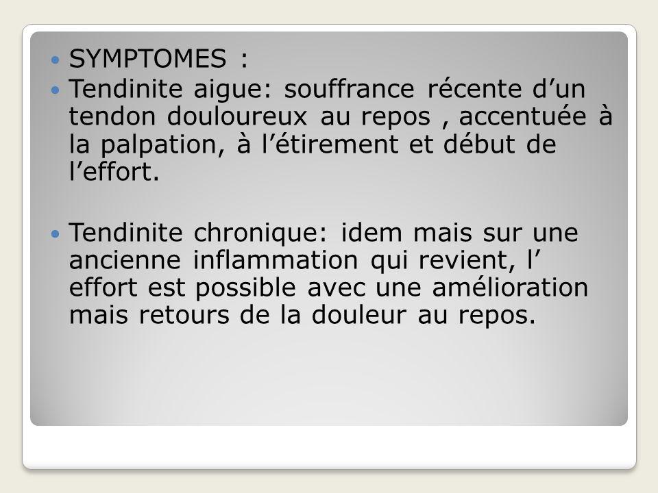 TRAITEMENTS: Forme aigue: ARRET DE LEFFORT+++, glacage immédiat, REPOS obligatoire, AINS, recherche de la cause.