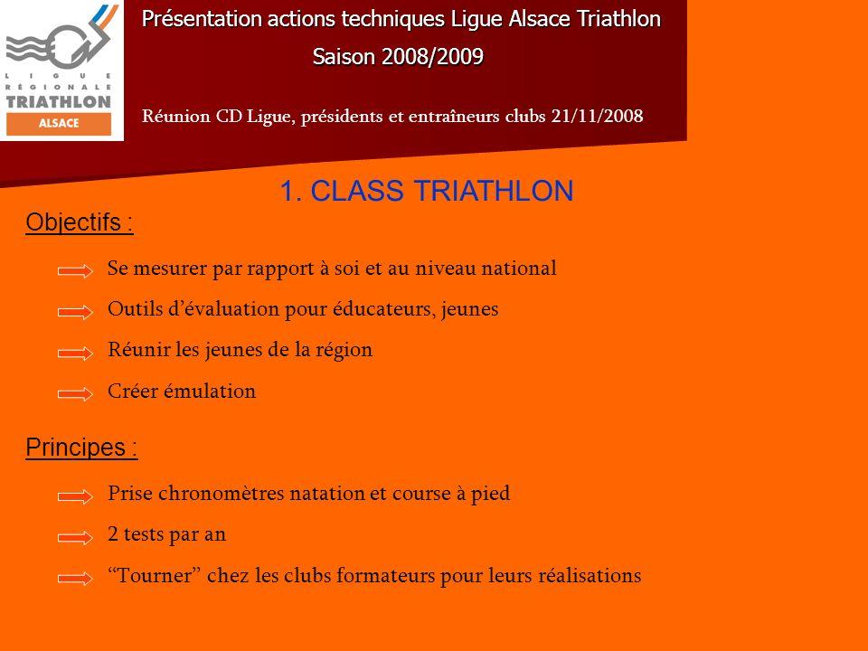 Présentation actions techniques Ligue Alsace Triathlon Saison 2008/2009 Réunion CD Ligue, présidents et entraîneurs clubs 21/11/2008 Résultats Class Tri novembre 2008 Guebwiller