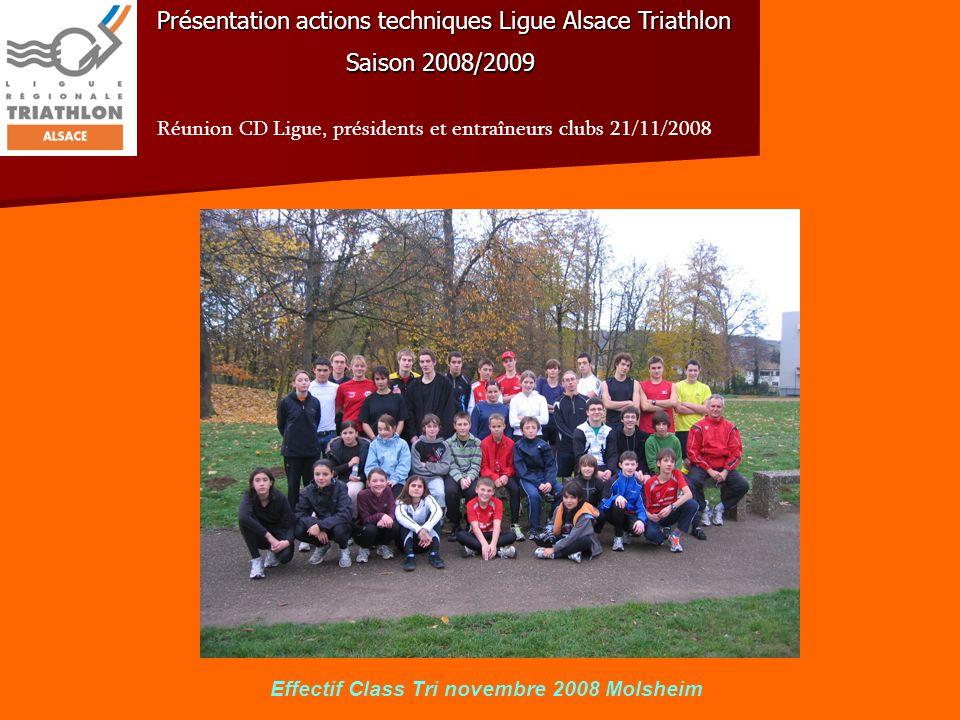 Présentation actions techniques Ligue Alsace Triathlon Saison 2008/2009 Réunion CD Ligue, présidents et entraîneurs clubs 21/11/2008 2.