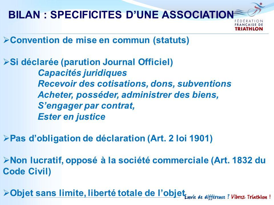 BILAN : SPECIFICITES DUNE ASSOCIATION Convention de mise en commun (statuts) Si déclarée (parution Journal Officiel) Capacités juridiques Recevoir des