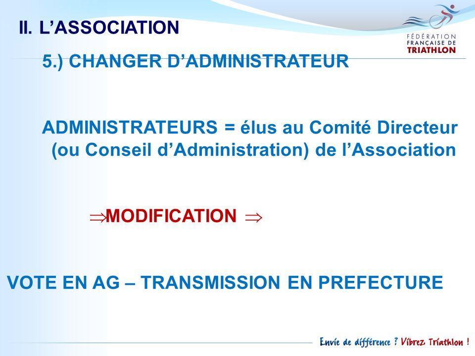 II. LASSOCIATION 5.) CHANGER DADMINISTRATEUR ADMINISTRATEURS = élus au Comité Directeur (ou Conseil dAdministration) de lAssociation MODIFICATION VOTE