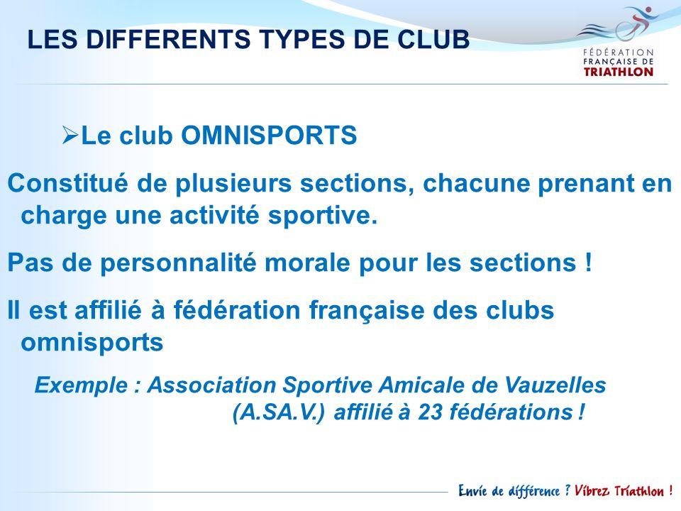 LES DIFFERENTS TYPES DE CLUB Le club OMNISPORTS Constitué de plusieurs sections, chacune prenant en charge une activité sportive. Pas de personnalité