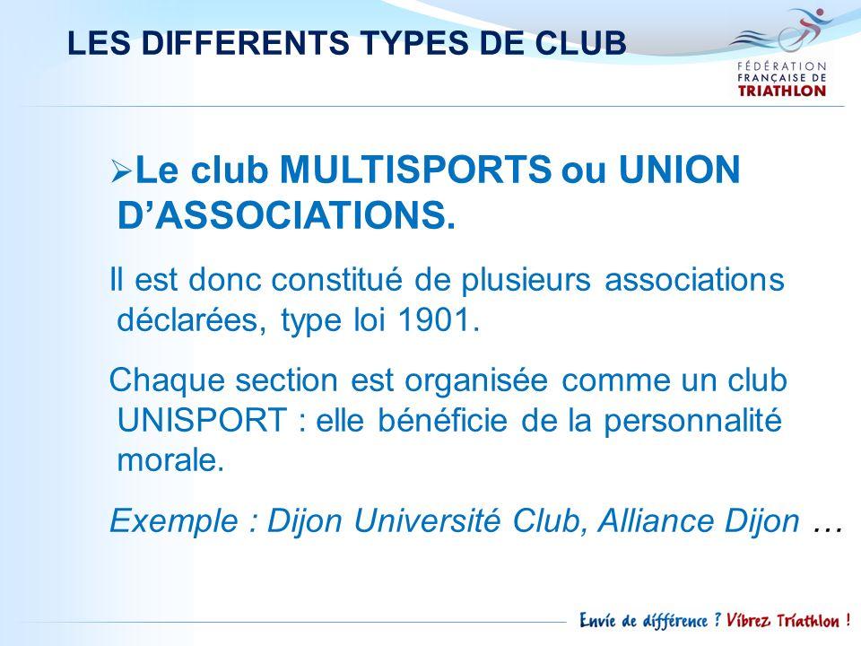 LES DIFFERENTS TYPES DE CLUB Le club MULTISPORTS ou UNION DASSOCIATIONS. Il est donc constitué de plusieurs associations déclarées, type loi 1901. Cha