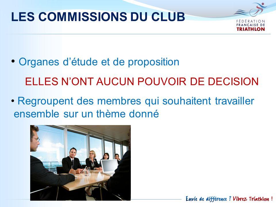 LES COMMISSIONS DU CLUB Organes détude et de proposition ELLES NONT AUCUN POUVOIR DE DECISION Regroupent des membres qui souhaitent travailler ensembl