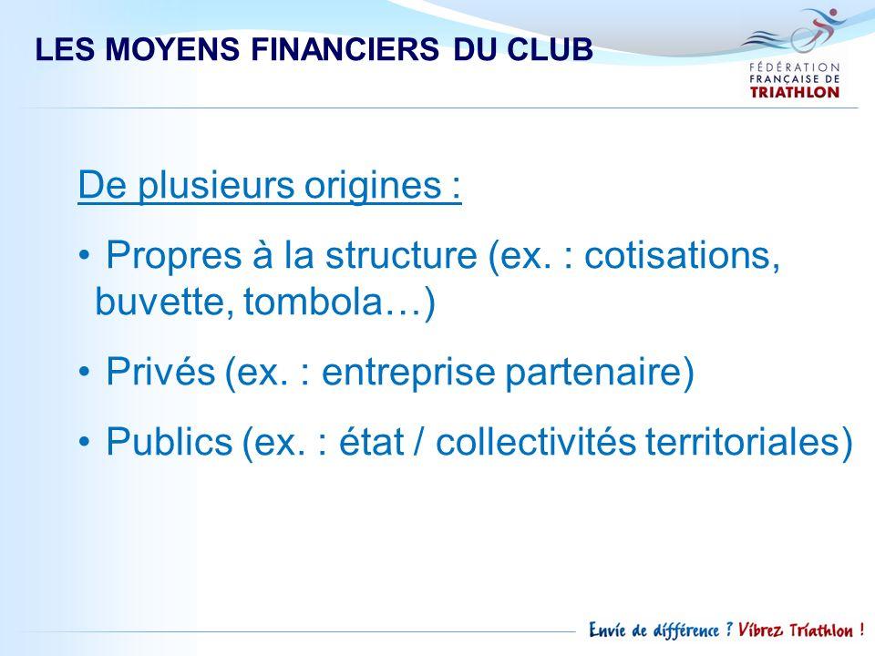 LES MOYENS FINANCIERS DU CLUB De plusieurs origines : Propres à la structure (ex. : cotisations, buvette, tombola…) Privés (ex. : entreprise partenair