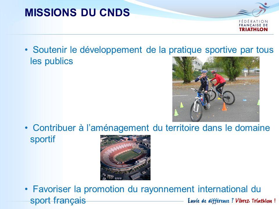 MISSIONS DU CNDS Soutenir le développement de la pratique sportive par tous les publics Contribuer à laménagement du territoire dans le domaine sporti