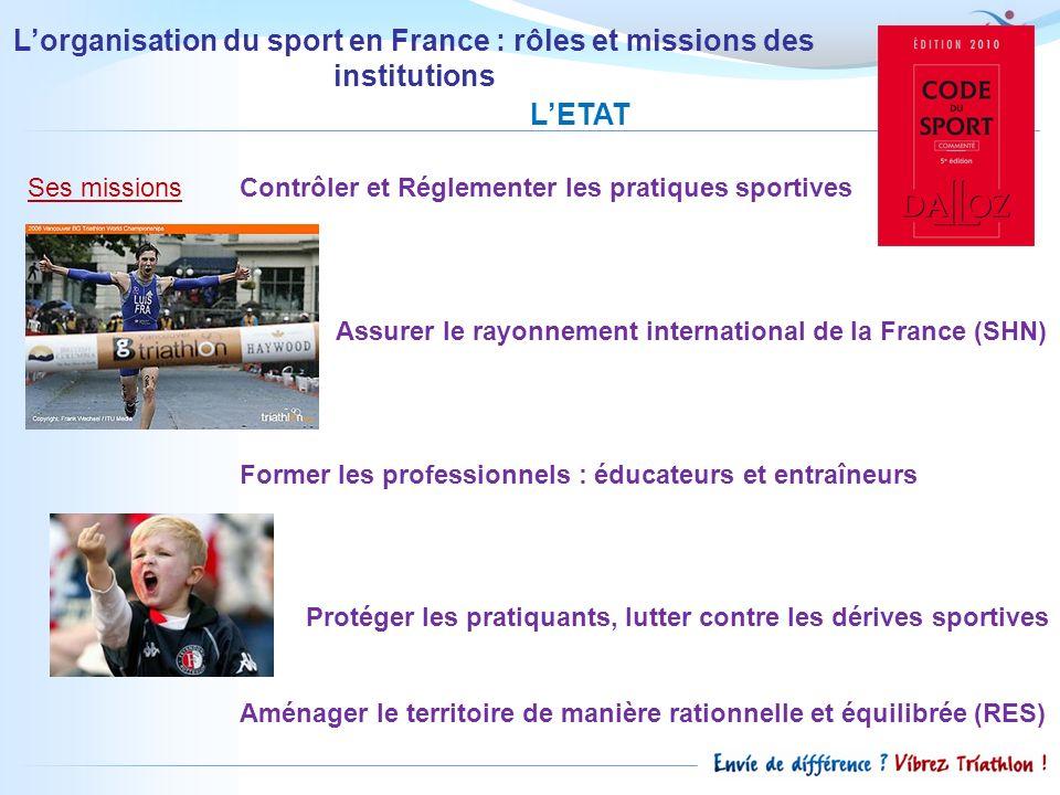 Lorganisation du sport en France : rôles et missions des institutions LETAT Ses missions Contrôler et Réglementer les pratiques sportives Assurer le r
