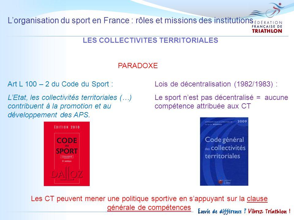 Lorganisation du sport en France : rôles et missions des institutions LES COLLECTIVITES TERRITORIALES Art L 100 – 2 du Code du Sport : LEtat, les coll