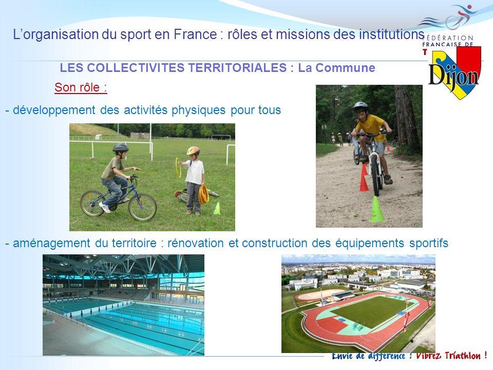 Lorganisation du sport en France : rôles et missions des institutions LES COLLECTIVITES TERRITORIALES : La Commune Son rôle : - développement des acti