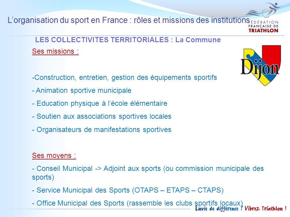 Lorganisation du sport en France : rôles et missions des institutions LES COLLECTIVITES TERRITORIALES : La Commune Ses missions : -Construction, entre