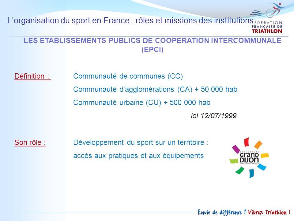 Lorganisation du sport en France : rôles et missions des institutions LES ETABLISSEMENTS PUBLICS DE COOPERATION INTERCOMMUNALE (EPCI) Définition : Com