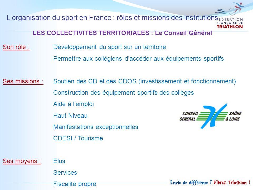 Lorganisation du sport en France : rôles et missions des institutions LES COLLECTIVITES TERRITORIALES : Le Conseil Général Son rôle : Développement du