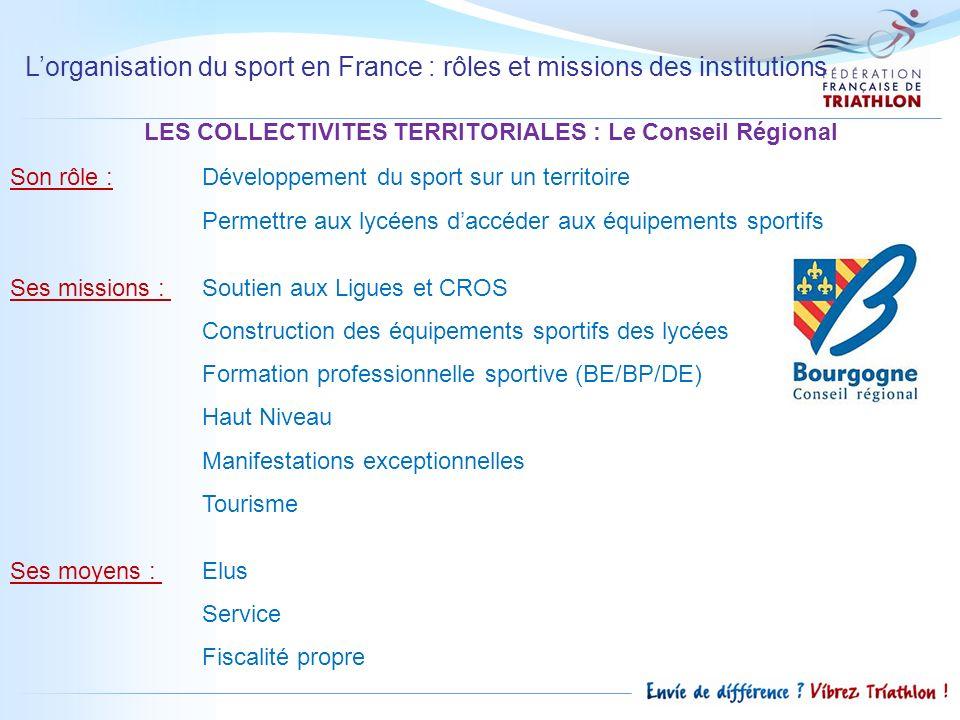 Lorganisation du sport en France : rôles et missions des institutions LES COLLECTIVITES TERRITORIALES : Le Conseil Régional Son rôle :Développement du
